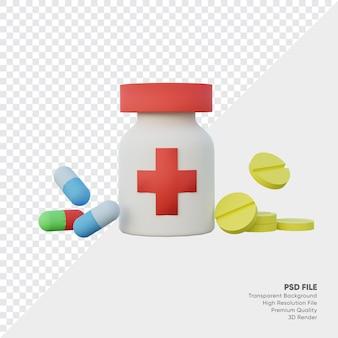 3d-rendering geneeskundeflessen en capsules en pillen