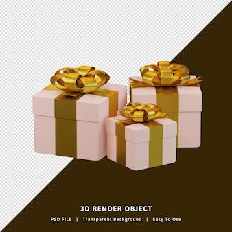 3d-rendering geschenkdoos met gouden kleur geïsoleerd