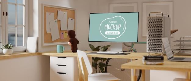 3d-rendering gezellige werkruimte met computermodel
