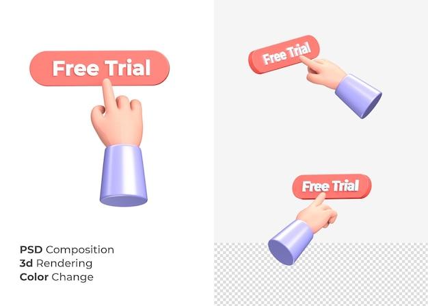 3d-rendering gratis proefknop met hand concept