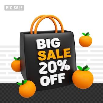 3d-rendering grote verkoop 20 procent korting op tekst