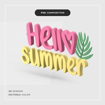 3d-rendering hallo zomer concept