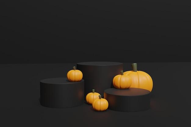 3d-rendering halloween pompoenen en podium