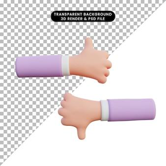 3d-rendering hand duimen omhoog en omlaag