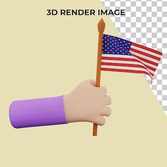 3d-rendering hand met het concept van de onafhankelijkheidsdag van de verenigde staten