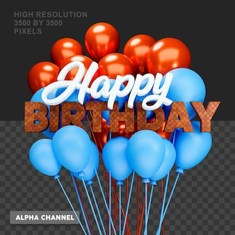 3d-rendering happy birthday-tekst met ballon