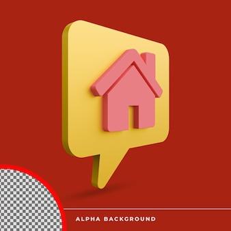 3d-rendering huis pictogram geïsoleerd