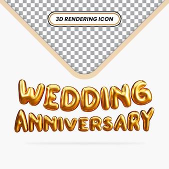 3d-rendering huwelijksverjaardag gouden balloneffect