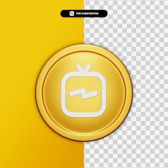 3d-rendering igtv pictogram op gouden cirkel geïsoleerd
