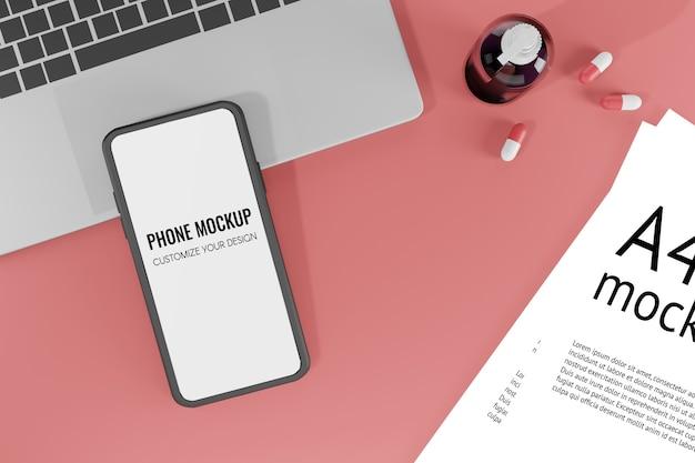 3d-rendering illustratie mobilofoon mockup