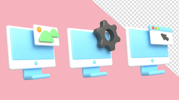 3d-rendering illustratie pictogram computer set