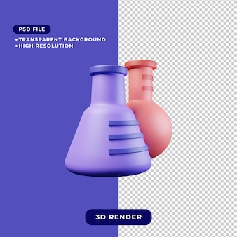 3d-rendering illustratie van chemische kolf icon