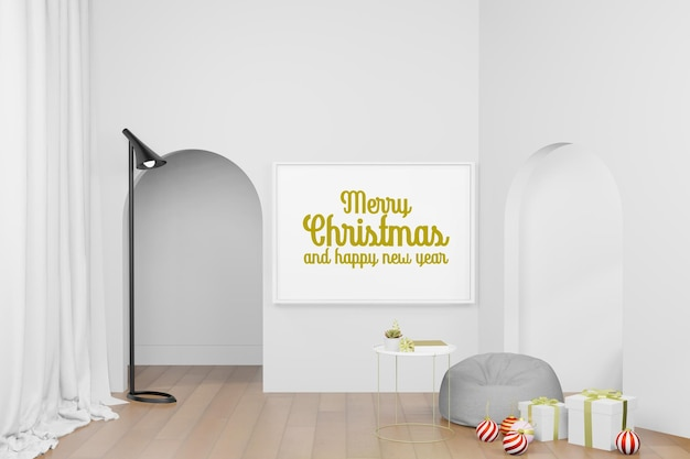 3d-rendering illustratie van frame poster mockup in moderne interieur achtergrond in kerstmis nieuwjaar thema