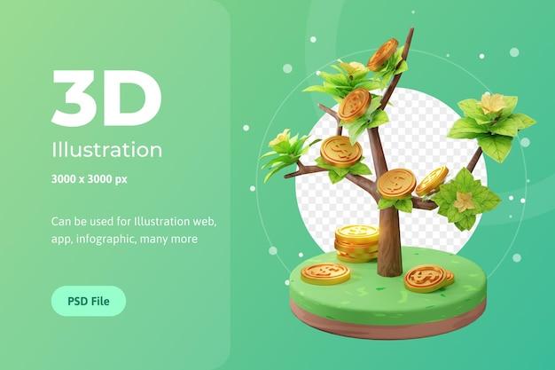 3d-rendering illustratie van groeiend bedrijf, met boom en munt, gebruikt voor web, app enz