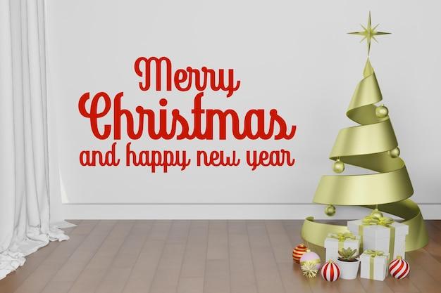 3d-rendering illustratie van interieur kamer mockup achtergrond in kerstmis nieuwjaar thema