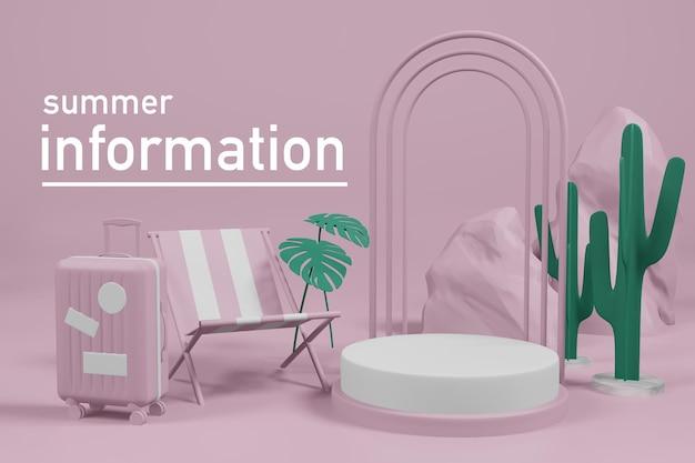 3d-rendering illustratie van zomer sjabloon podium podium display showcase. Premium Psd