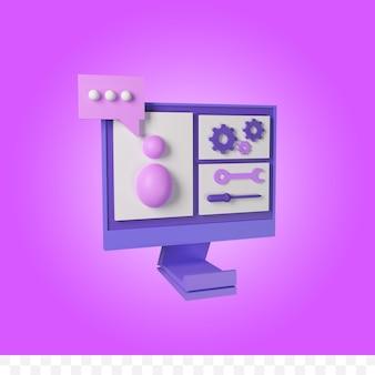 3d-rendering informatietechnologie ondersteuning concept