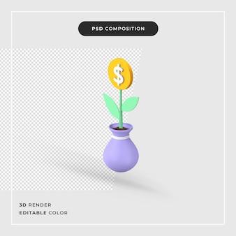 3d-rendering ingegoten plant met dollartekens