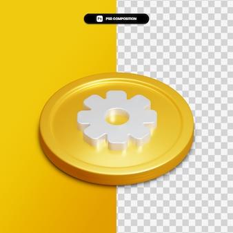 3d-rendering instelling pictogram op gouden cirkel geïsoleerd