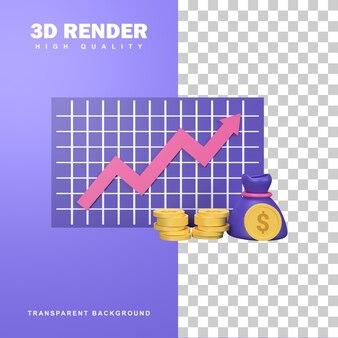3d-rendering investeringsconcept met winstmogelijkheid.