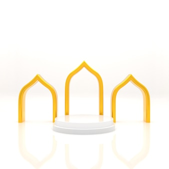 3d-rendering islamitische podiumvertoning van product verkoop concept realistische weergave