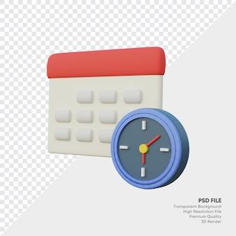 3d-rendering kalender deadline en wecker clock