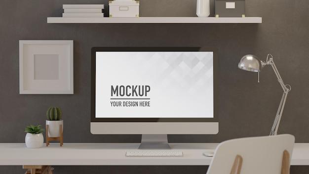 3d-rendering kantoor aan huis kamer met computer lamp plant potten
