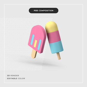 3d-rendering kleurrijk ijs op houten stok