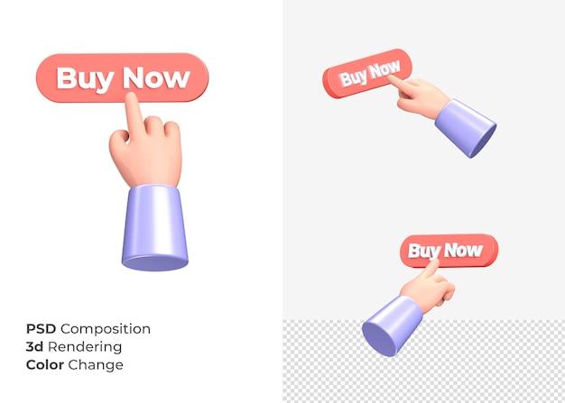 3d-rendering koop nu cta-knop met hand concept