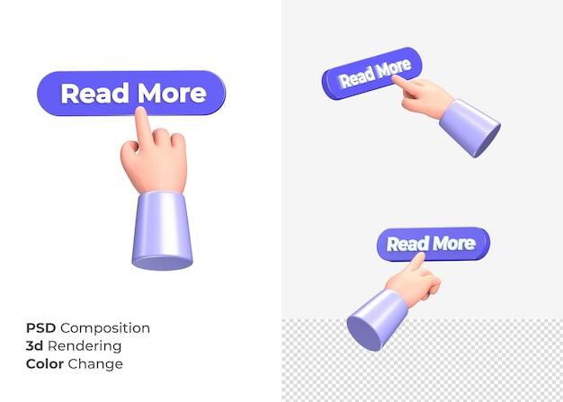 3d-rendering lees meer cta-knop met hand concept
