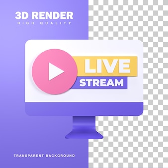 3d-rendering live streaming icon badge.