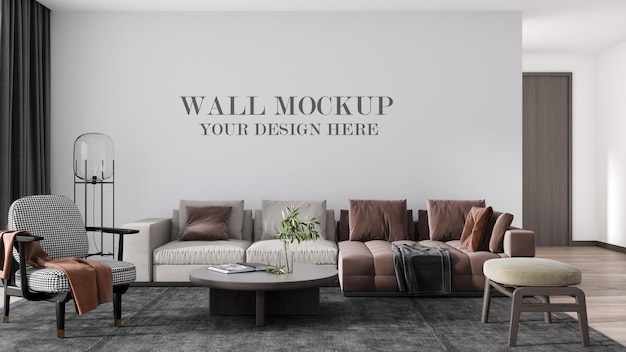 3d-rendering luxe woonkamer muurmodel