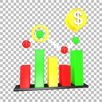 3d-rendering marktanalyse 3d-object geïsoleerd