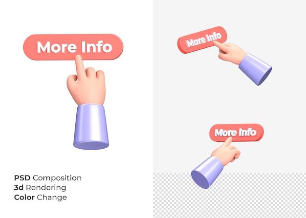 3d-rendering meer info-knop met hand concept