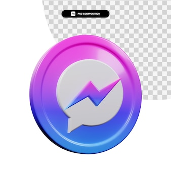 3d-rendering messenger logo-applicatie geïsoleerd