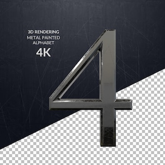 3d-rendering metaal geschilderd alfabet ontwerp