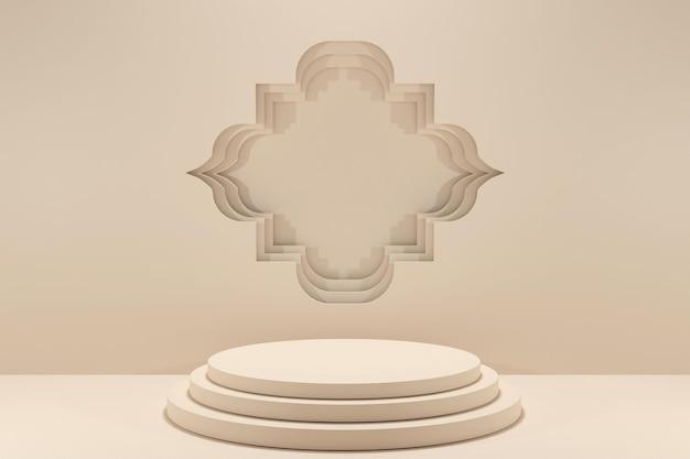 3d-rendering minimalis podium islamitische weergave decoratie-2