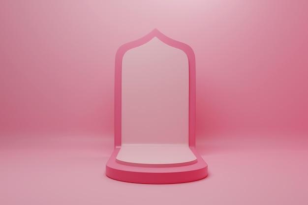 3d-rendering minimalistisch roze podium voor productplaatsing