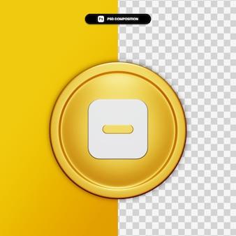 3d-rendering minus pictogram op gouden cirkel geïsoleerd