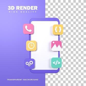 3d-rendering mobiel app-concept met meerdere apps op het scherm.