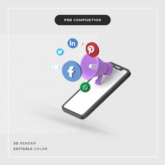 3d-rendering mobiel marketing geïsoleerd premium concept