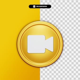 3d-rendering multimediapictogram op gouden cirkel geïsoleerd