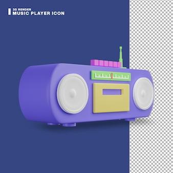 3d-rendering muziekspeler icoon