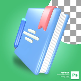 3d-rendering object pictogram blauw boek met een pen en potlood