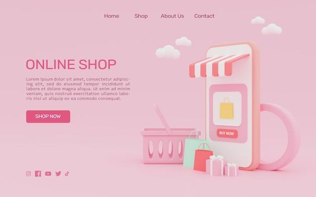 3d-rendering online winkelen op de bestemmingspagina van de smartphone