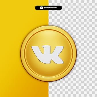 3d-rendering pictogram vk op gouden cirkel geïsoleerd