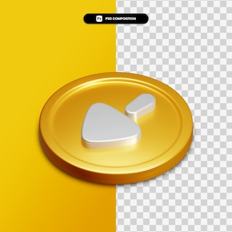 3d-rendering pijl links pictogram op gouden cirkel geïsoleerd