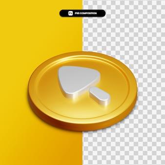 3d-rendering pijl omhoog pictogram op gouden cirkel geïsoleerd