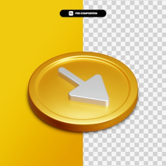 3d-rendering pijl-omlaag pictogram op gouden cirkel geïsoleerd