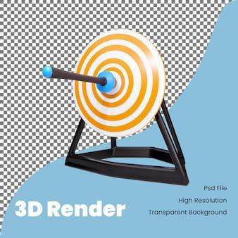 3d-rendering pijl op doel pictogram illustratie
